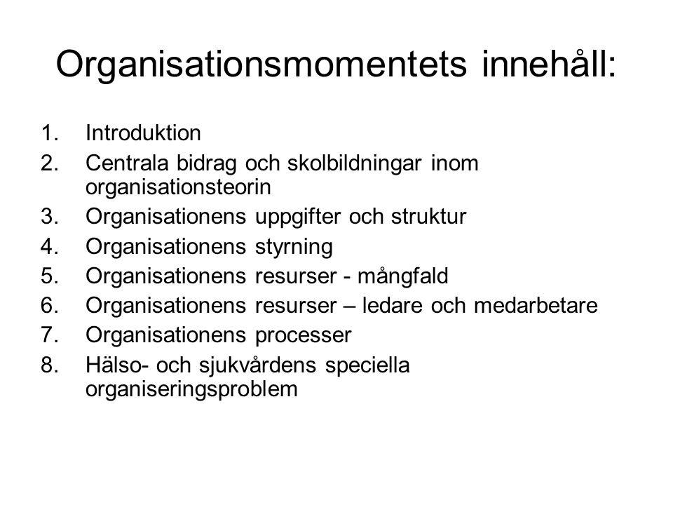 Organisationsmomentets innehåll: