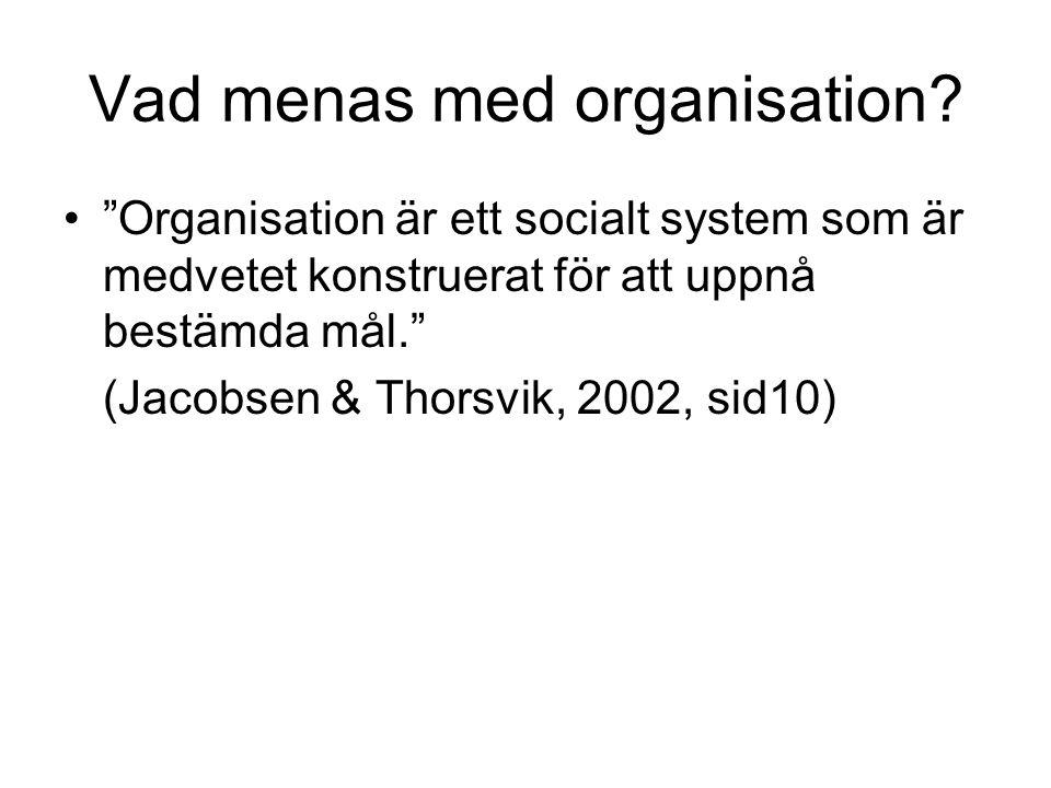 Vad menas med organisation