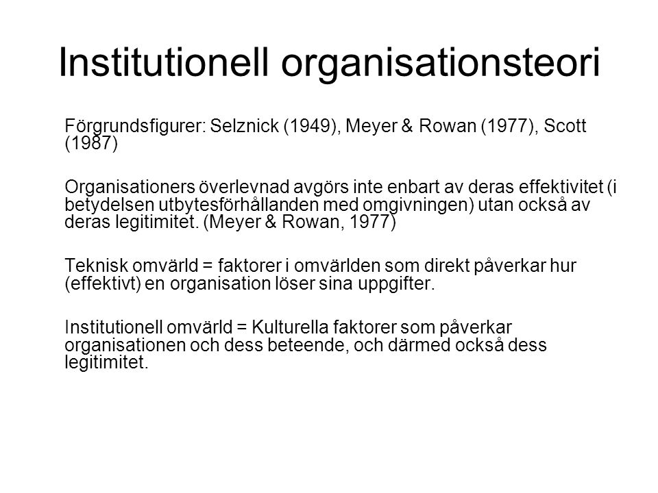 Institutionell organisationsteori