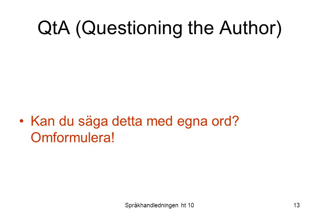 QtA (Questioning the Author)