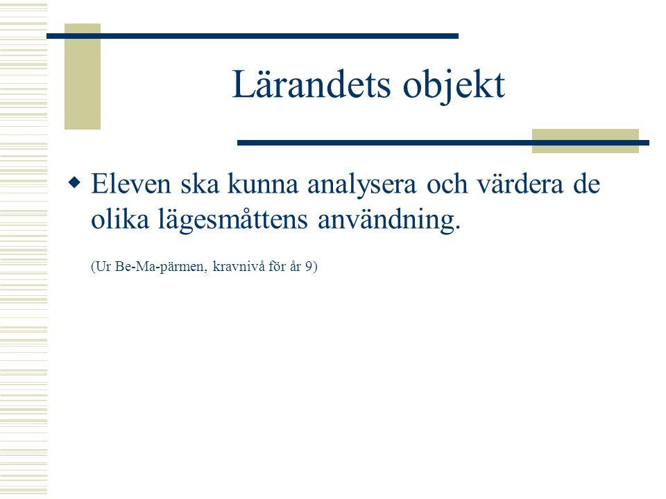 Lärandets objekt Eleven ska kunna analysera och värdera de olika lägesmåttens användning.