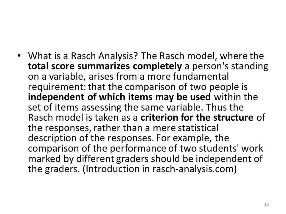 What is a Rasch Analysis