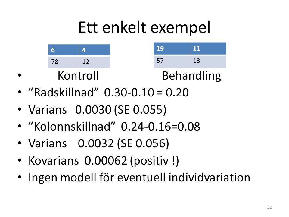 Ett enkelt exempel Kontroll Behandling Radskillnad 0.30-0.10 = 0.20