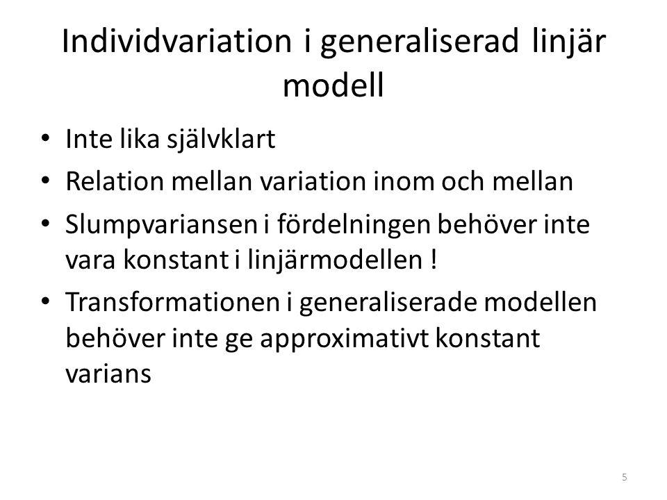 Individvariation i generaliserad linjär modell