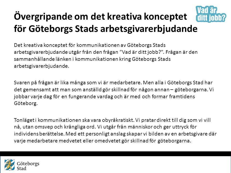 Övergripande om det kreativa konceptet för Göteborgs Stads arbetsgivarerbjudande
