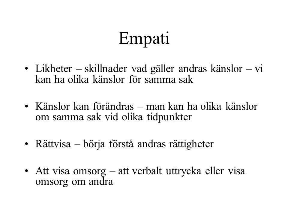 Empati Likheter – skillnader vad gäller andras känslor – vi kan ha olika känslor för samma sak.