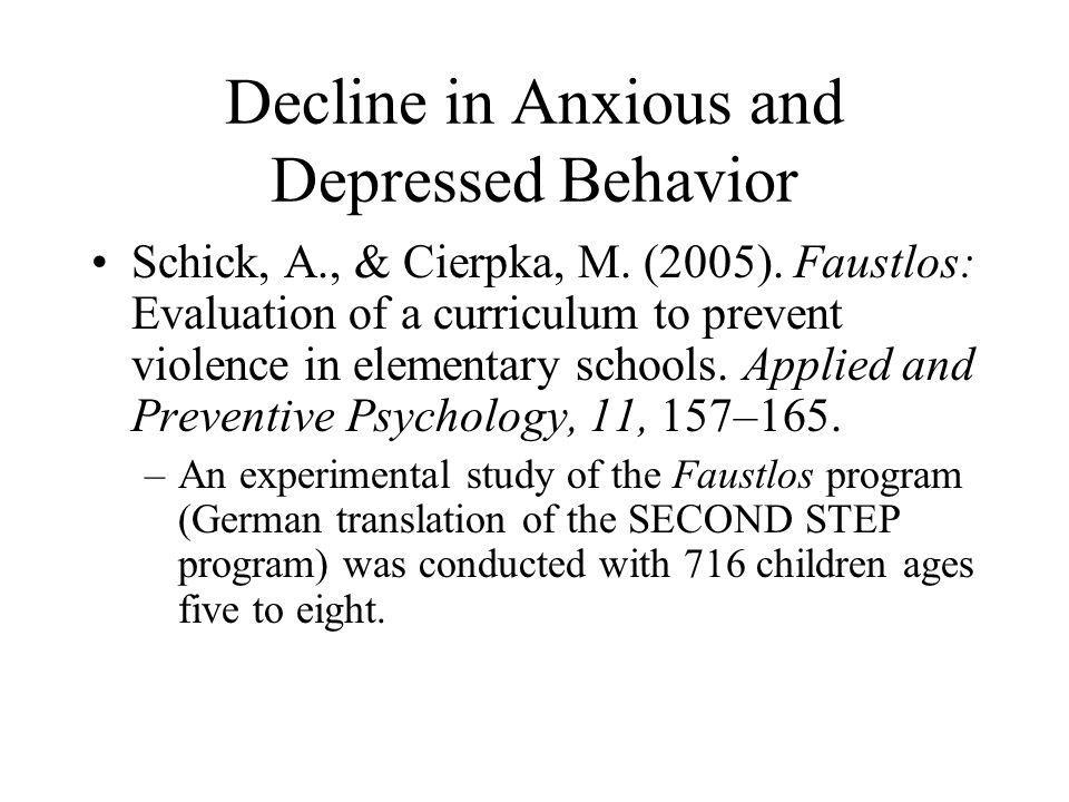 Decline in Anxious and Depressed Behavior