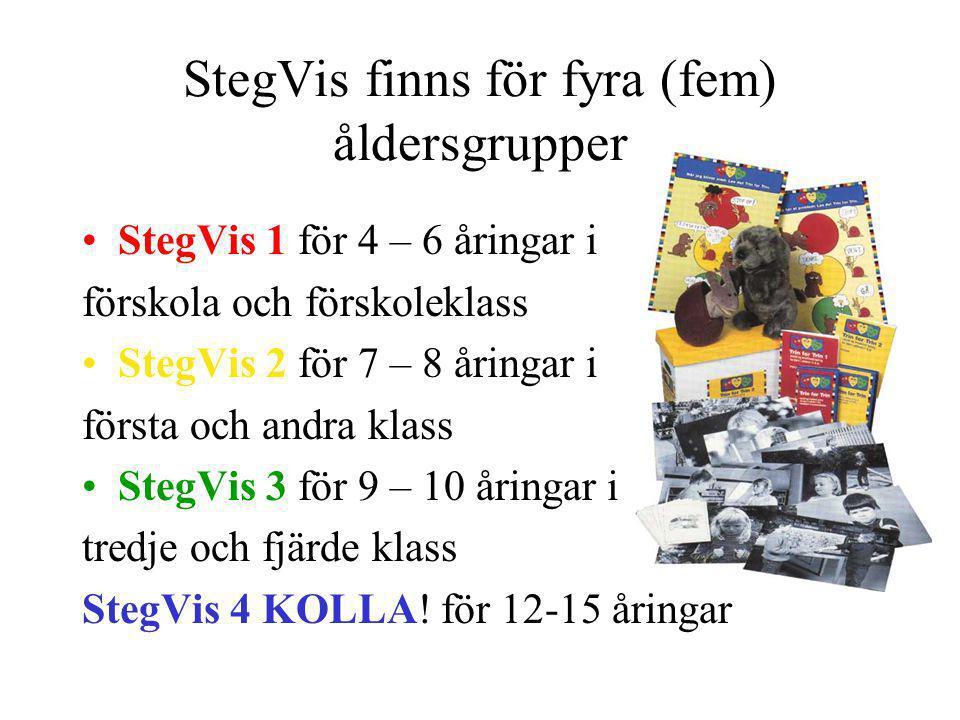 StegVis finns för fyra (fem) åldersgrupper