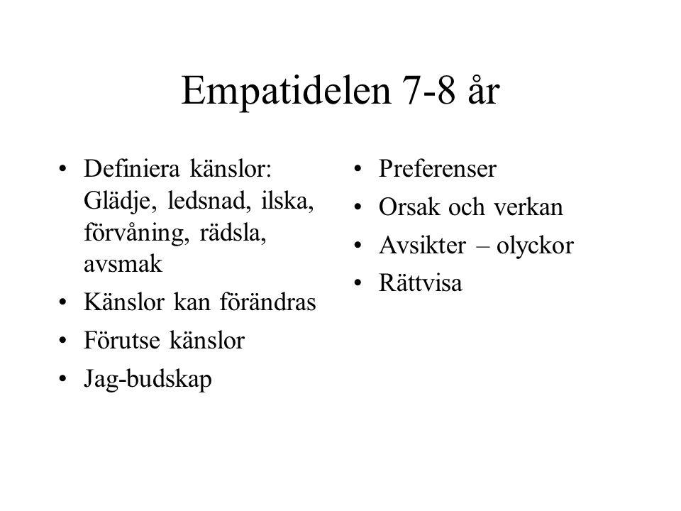Empatidelen 7-8 år Definiera känslor: Glädje, ledsnad, ilska, förvåning, rädsla, avsmak. Känslor kan förändras.