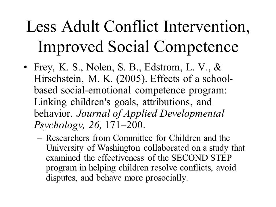 Less Adult Conflict Intervention, Improved Social Competence