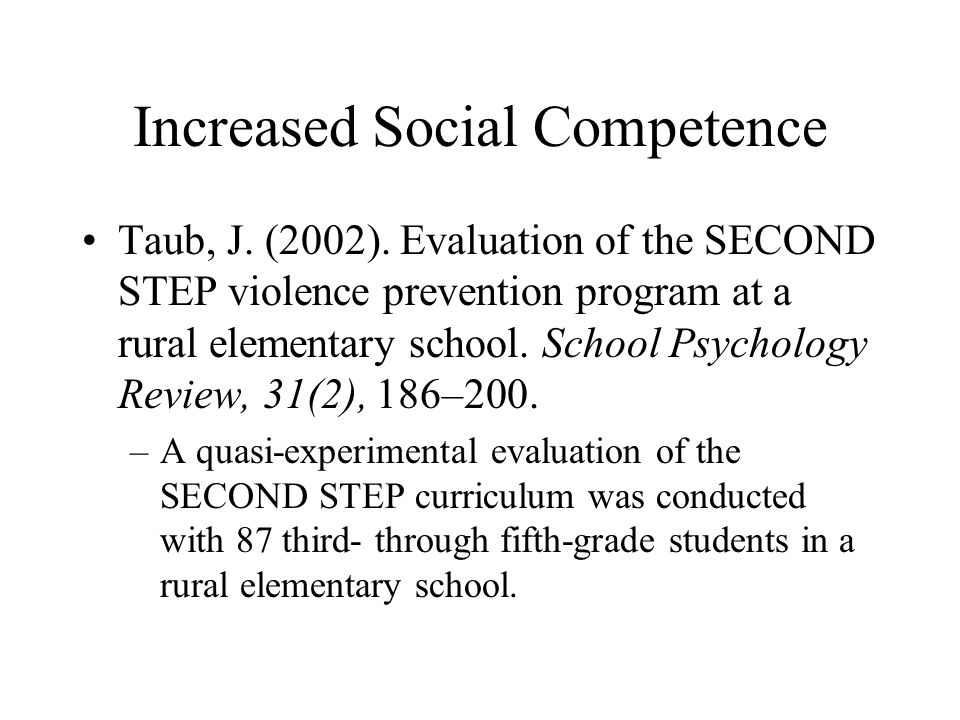 Increased Social Competence