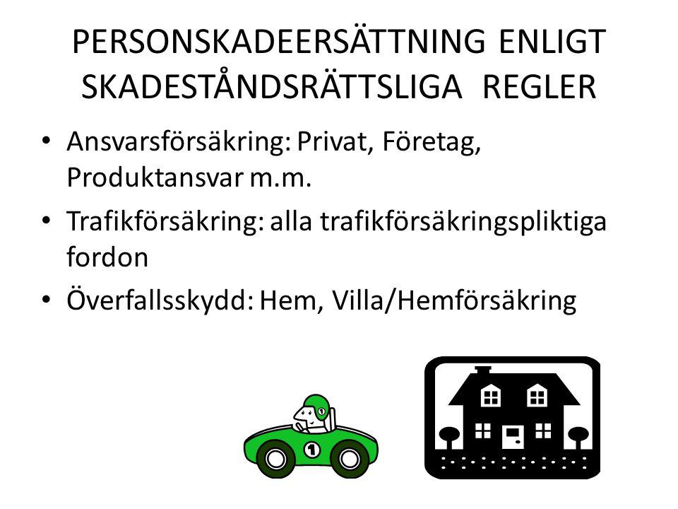 PERSONSKADEERSÄTTNING ENLIGT SKADESTÅNDSRÄTTSLIGA REGLER