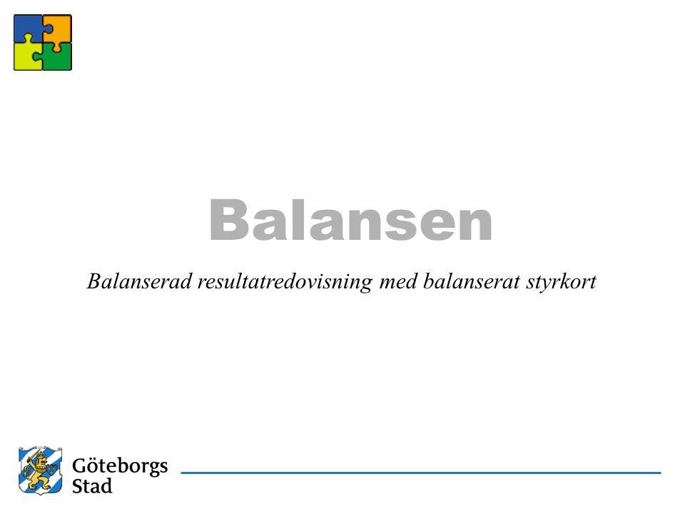 Balansen Balanserad resultatredovisning med balanserat styrkort