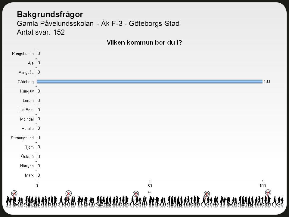 Bakgrundsfrågor Gamla Påvelundsskolan - Åk F-3 - Göteborgs Stad