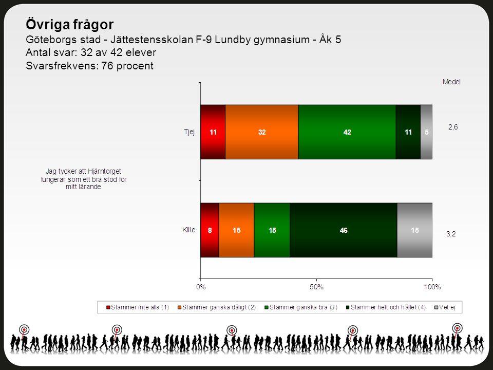 Övriga frågor Göteborgs stad - Jättestensskolan F-9 Lundby gymnasium - Åk 5. Antal svar: 32 av 42 elever.