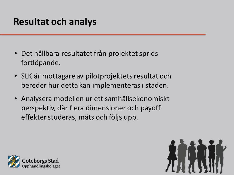 Resultat och analys Det hållbara resultatet från projektet sprids fortlöpande.