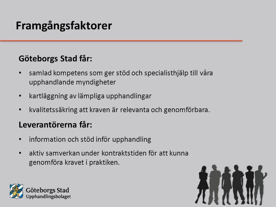 Framgångsfaktorer Göteborgs Stad får: Leverantörerna får: