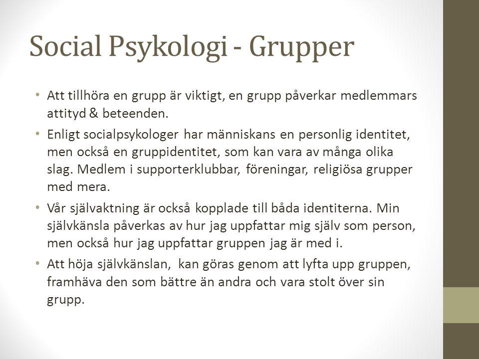 Social Psykologi - Grupper