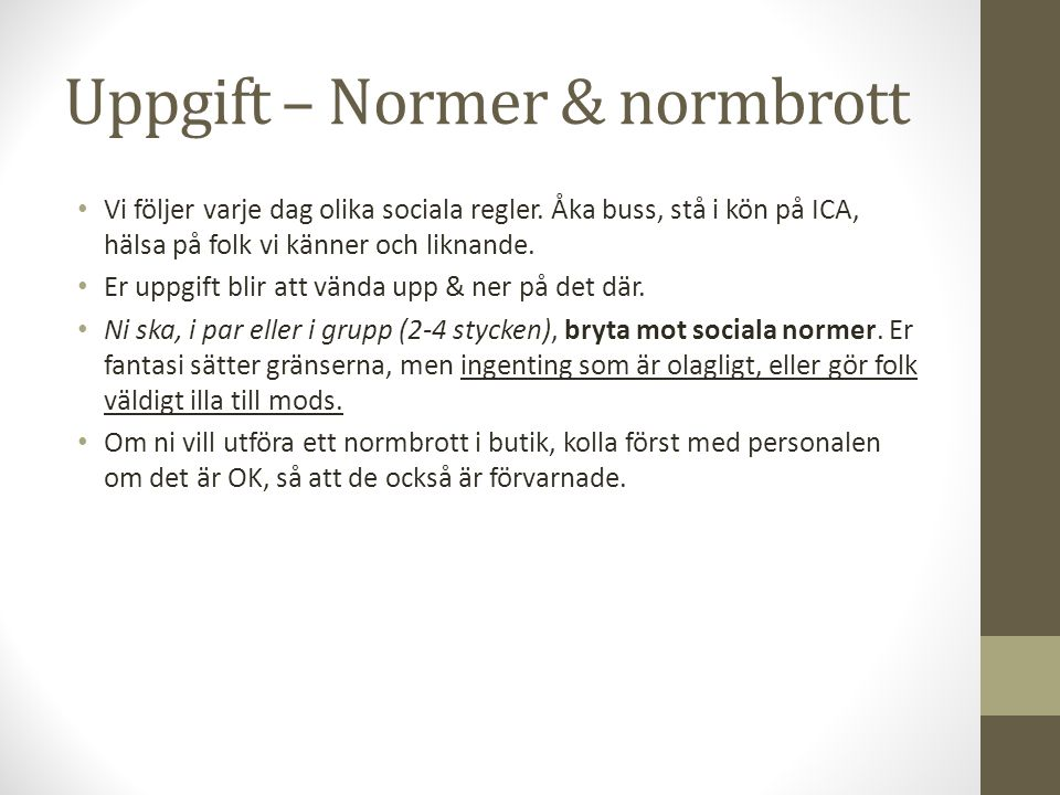 Uppgift – Normer & normbrott