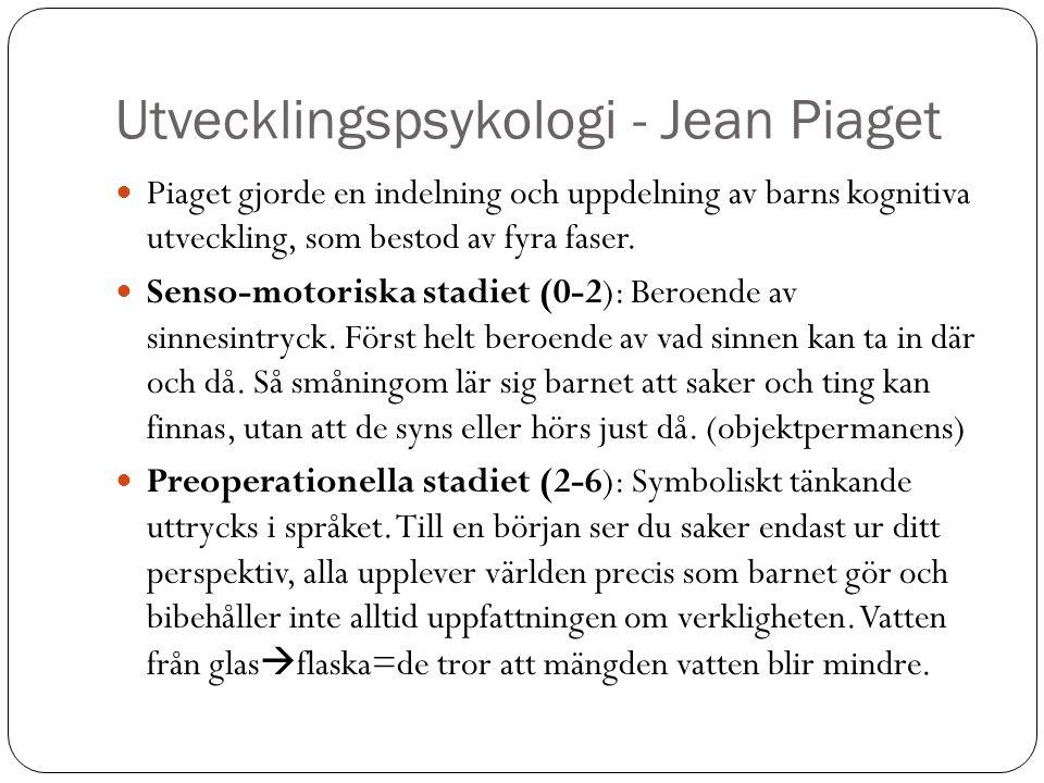 Utvecklingspsykologi - Jean Piaget