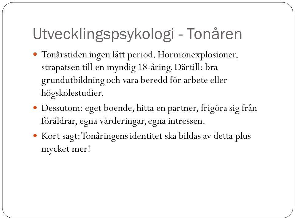 Utvecklingspsykologi - Tonåren