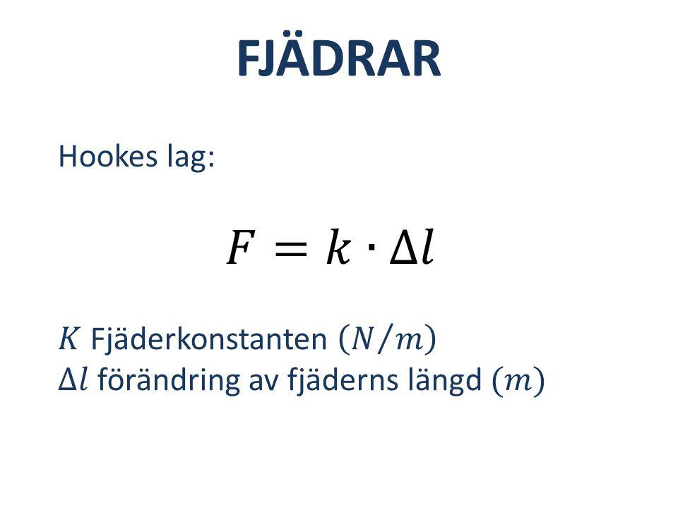 FJÄDRAR 𝐹=𝑘∙∆𝑙 Hookes lag: 𝐾 Fjäderkonstanten 𝑁 𝑚