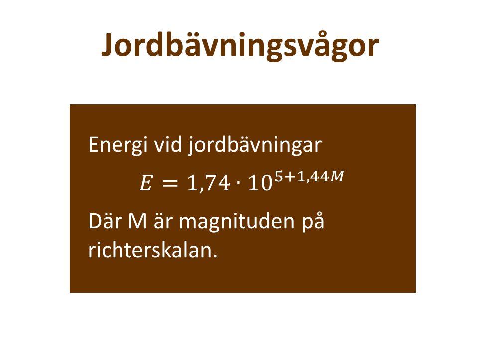 Jordbävningsvågor Energi vid jordbävningar 𝐸=1,74∙ 10 5+1,44𝑀