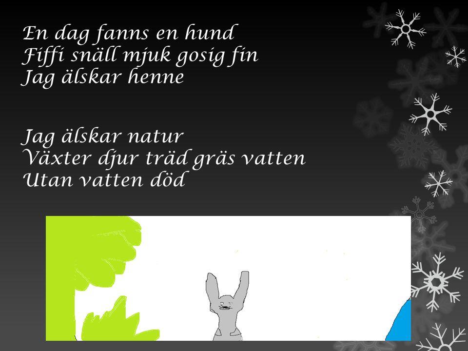 En dag fanns en hund Fiffi snäll mjuk gosig fin. Jag älskar henne. Jag älskar natur. Växter djur träd gräs vatten.