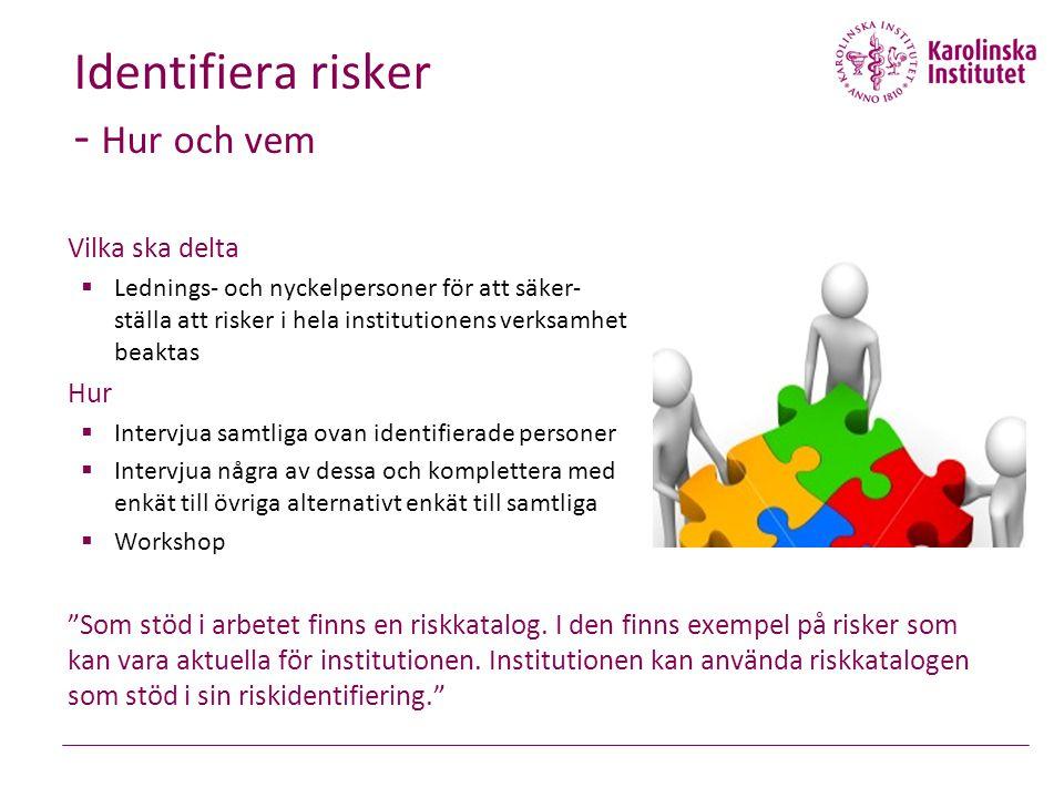 Identifiera risker - Hur och vem