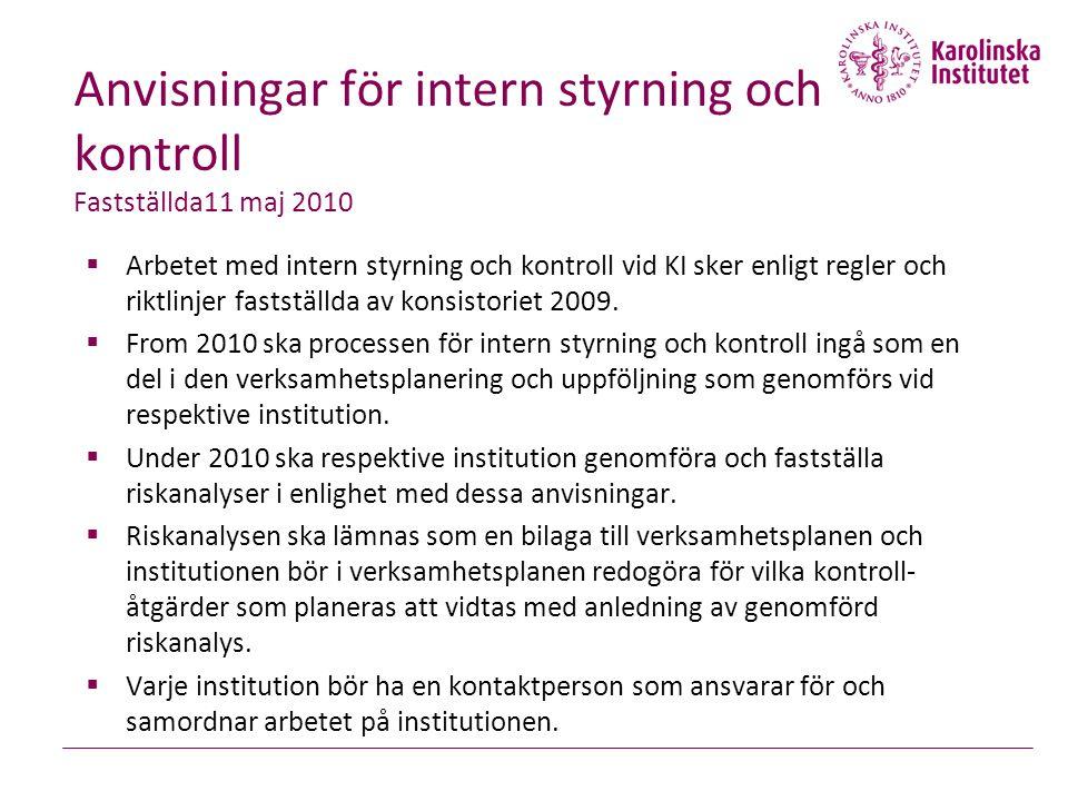 Anvisningar för intern styrning och kontroll Fastställda11 maj 2010