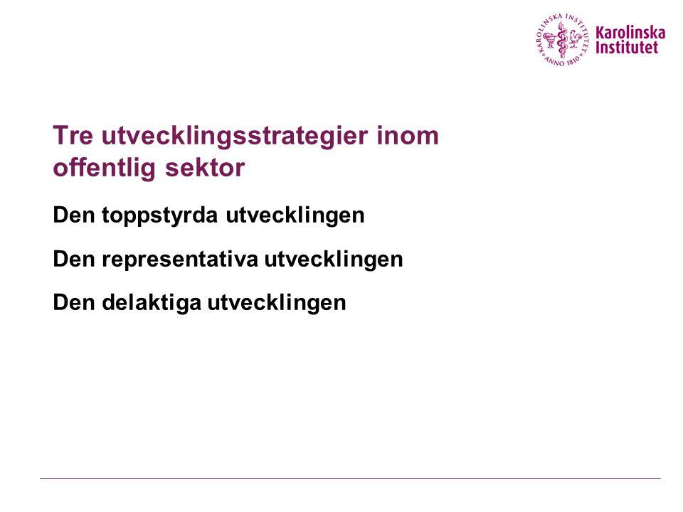 Tre utvecklingsstrategier inom offentlig sektor