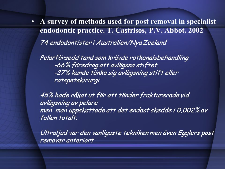 A survey of methods used for post removal in specialist endodontic practice.