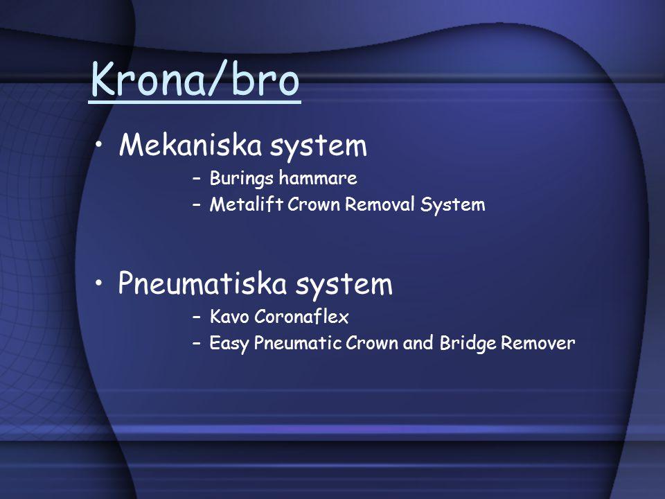 Krona/bro Mekaniska system Pneumatiska system Burings hammare