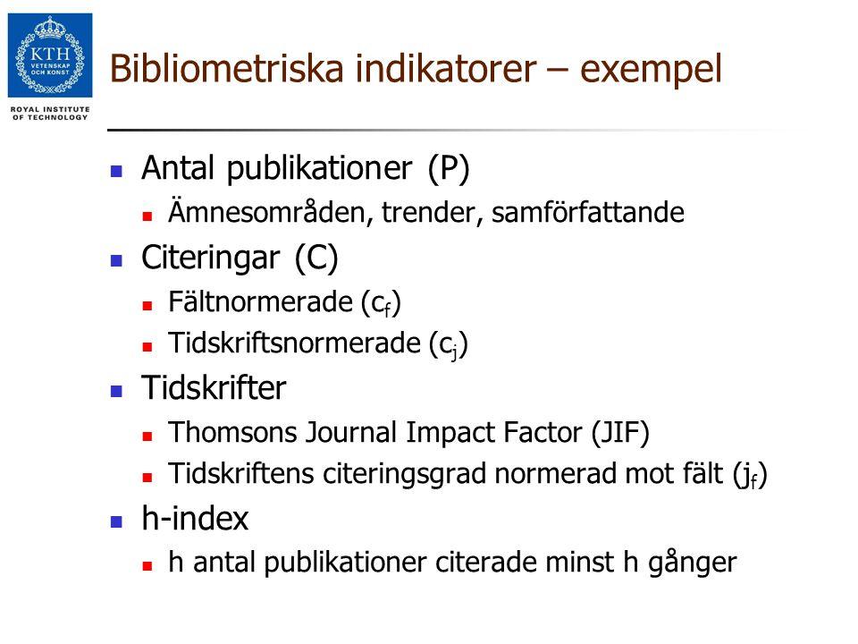 Bibliometriska indikatorer – exempel