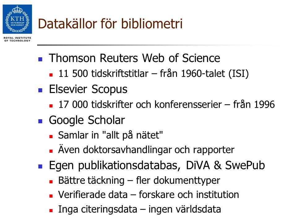 Datakällor för bibliometri