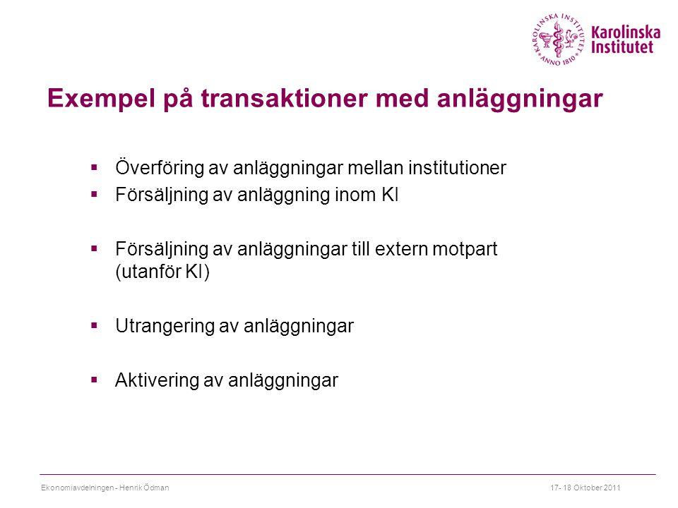Exempel på transaktioner med anläggningar