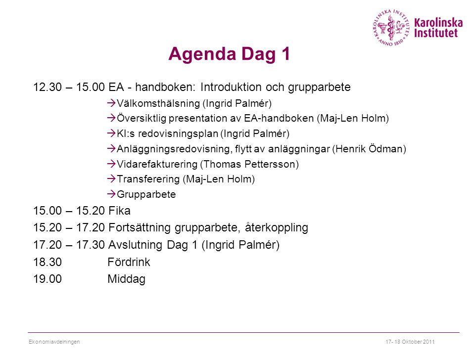 Agenda Dag 1 12.30 – 15.00 EA - handboken: Introduktion och grupparbete. Välkomsthälsning (Ingrid Palmér)