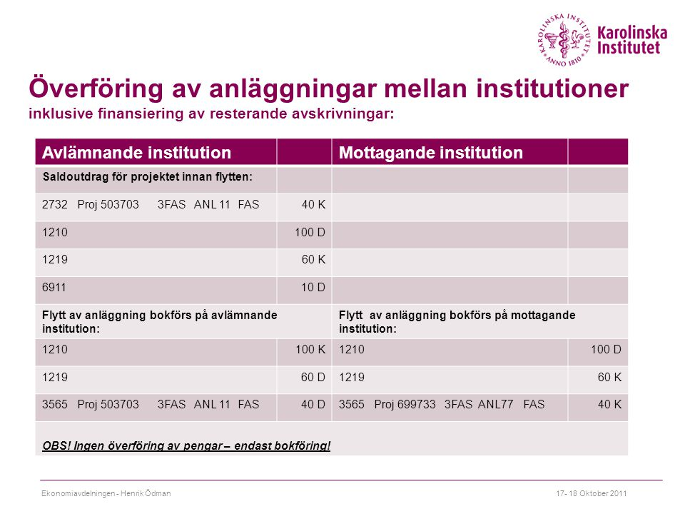 Överföring av anläggningar mellan institutioner inklusive finansiering av resterande avskrivningar: