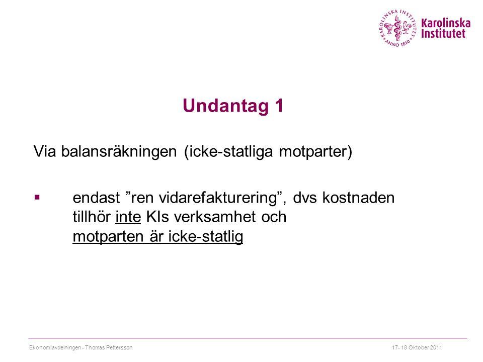 Undantag 1 Via balansräkningen (icke-statliga motparter)