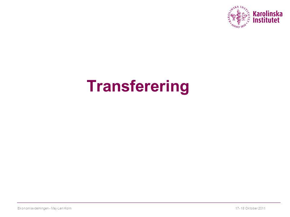 Transferering Ekonomiavdelningen - Maj-Len Holm 17- 18 Oktober 2011