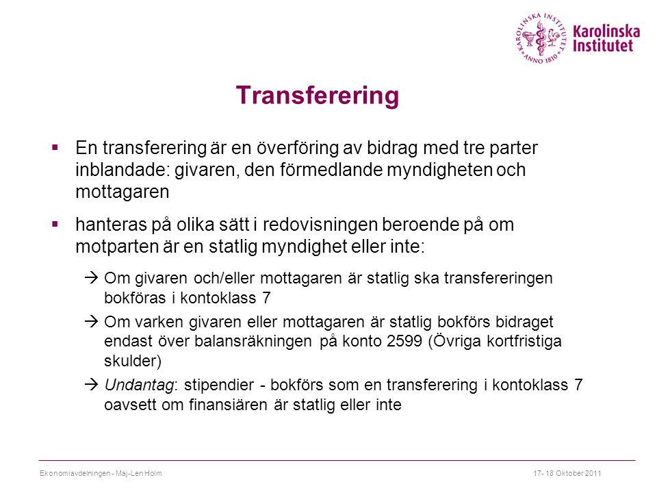 Transferering En transferering är en överföring av bidrag med tre parter inblandade: givaren, den förmedlande myndigheten och mottagaren.