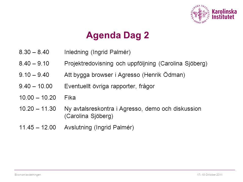 Agenda Dag 2