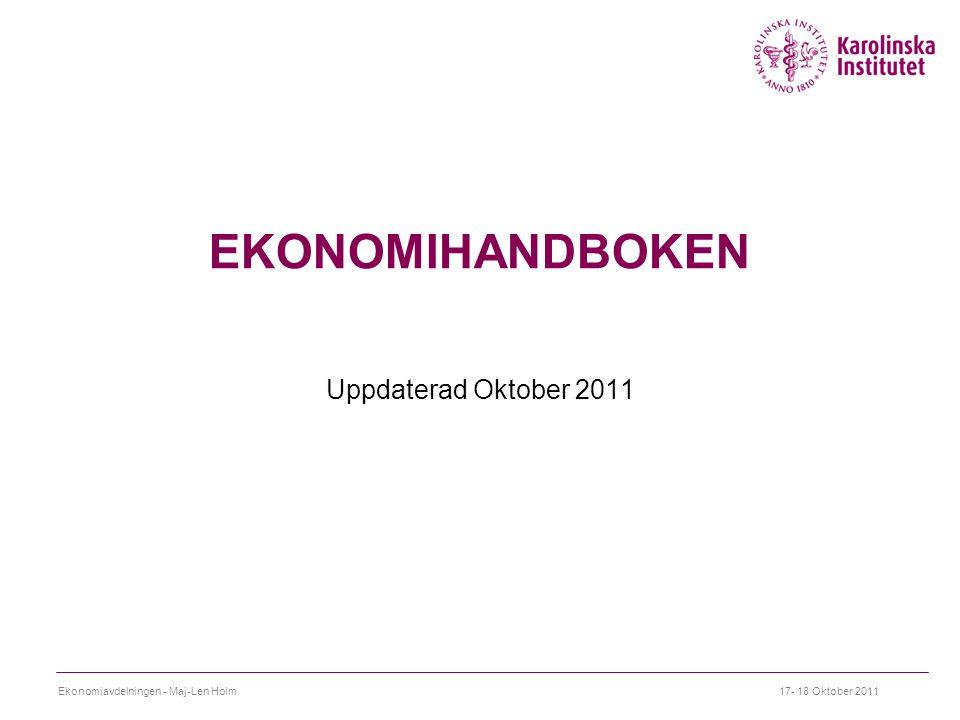 EKONOMIHANDBOKEN Uppdaterad Oktober 2011
