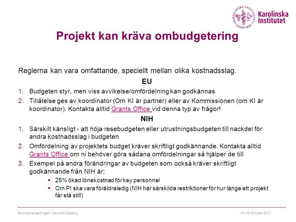 Projekt kan kräva ombudgetering