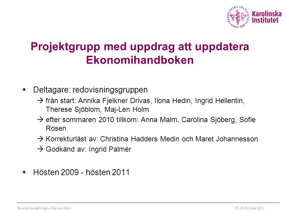 Projektgrupp med uppdrag att uppdatera Ekonomihandboken