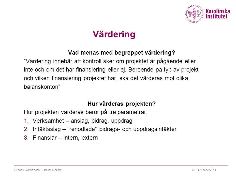 Vad menas med begreppet värdering Hur värderas projekten