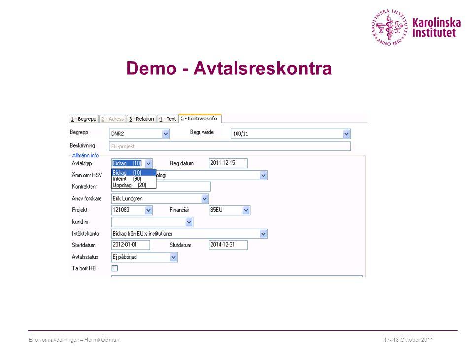 Demo - Avtalsreskontra