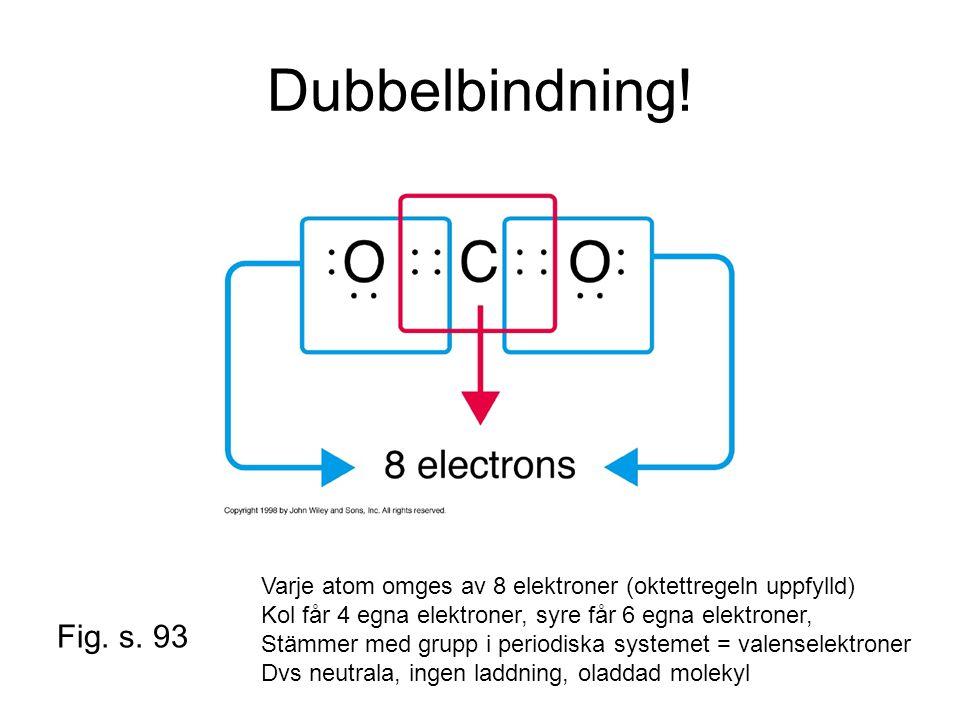 Dubbelbindning! Denna bild kan vara med i hand-outs. Varje atom omges av 8 elektroner (oktettregeln uppfylld)