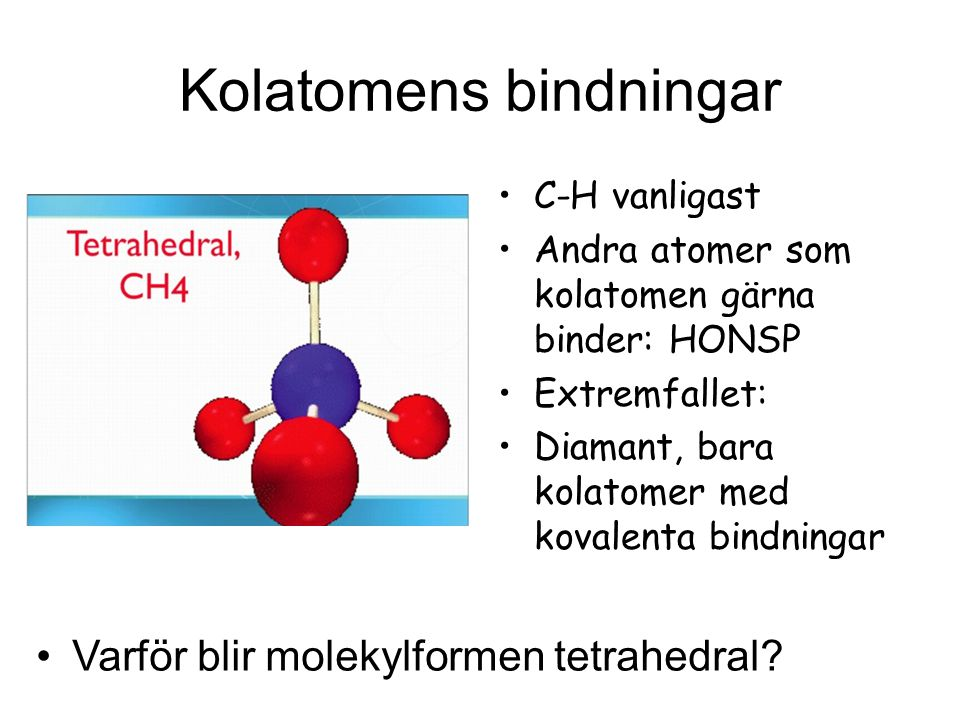 Kolatomens bindningar