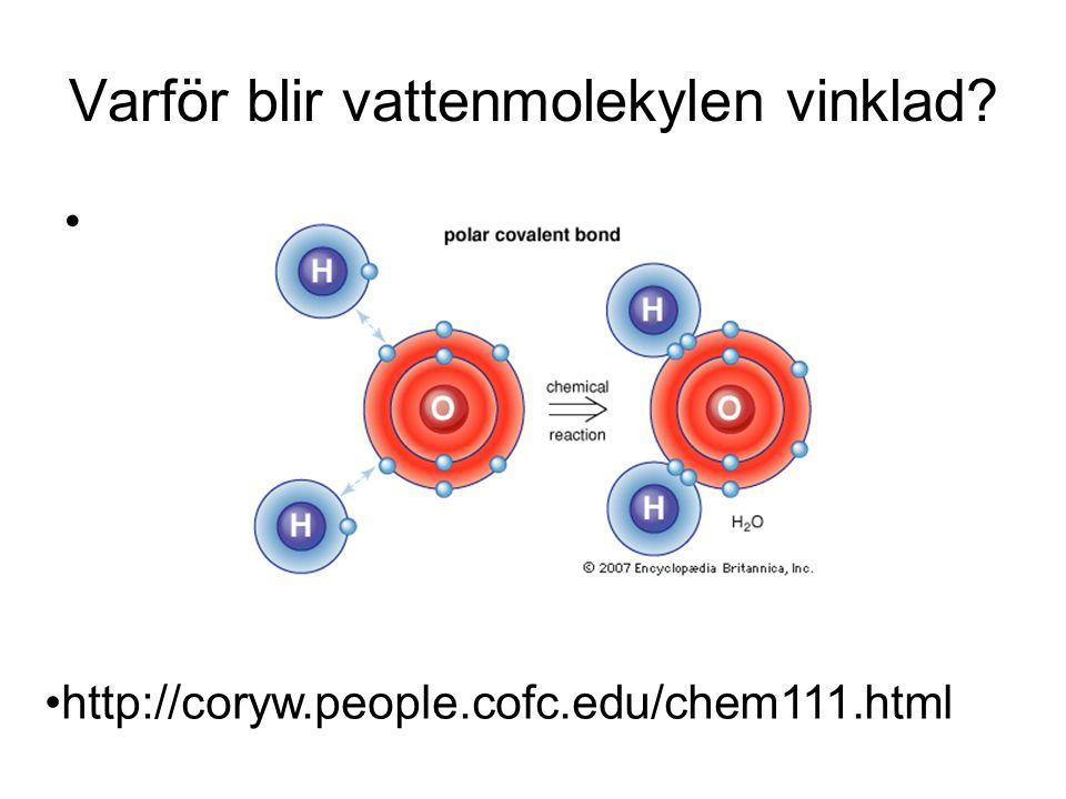 Varför blir vattenmolekylen vinklad
